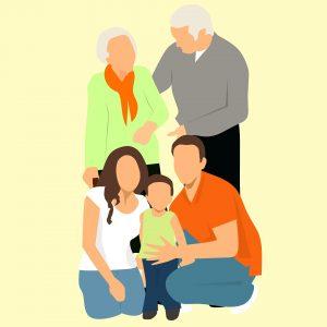 famille personnes âgées enfants actifs
